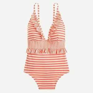 J.Crew Ruffle plunging one-piece swimsuit
